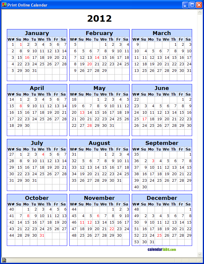 Calendar With Week Numbers | My Calendar Template Collection