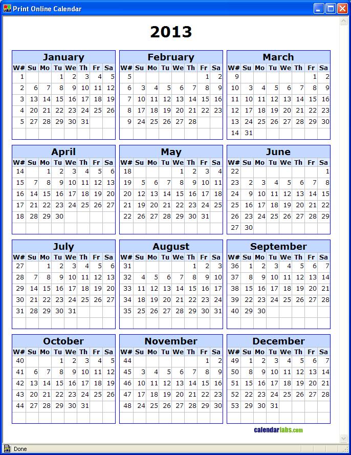 2013+Calendar+with+Week+Numbers 2013 Calendar With Week Numbers | New ...